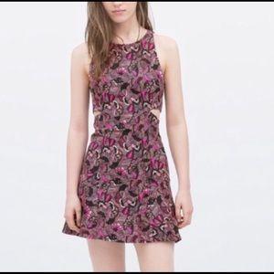 Zara side cut out floral mini dress